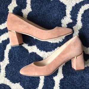 Cole haan nude pink suede block heels with gold